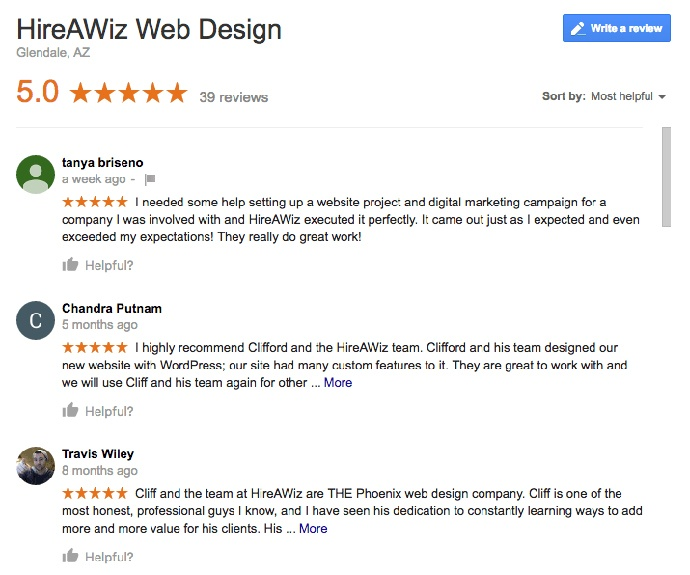 Hireawiz Web Design Review